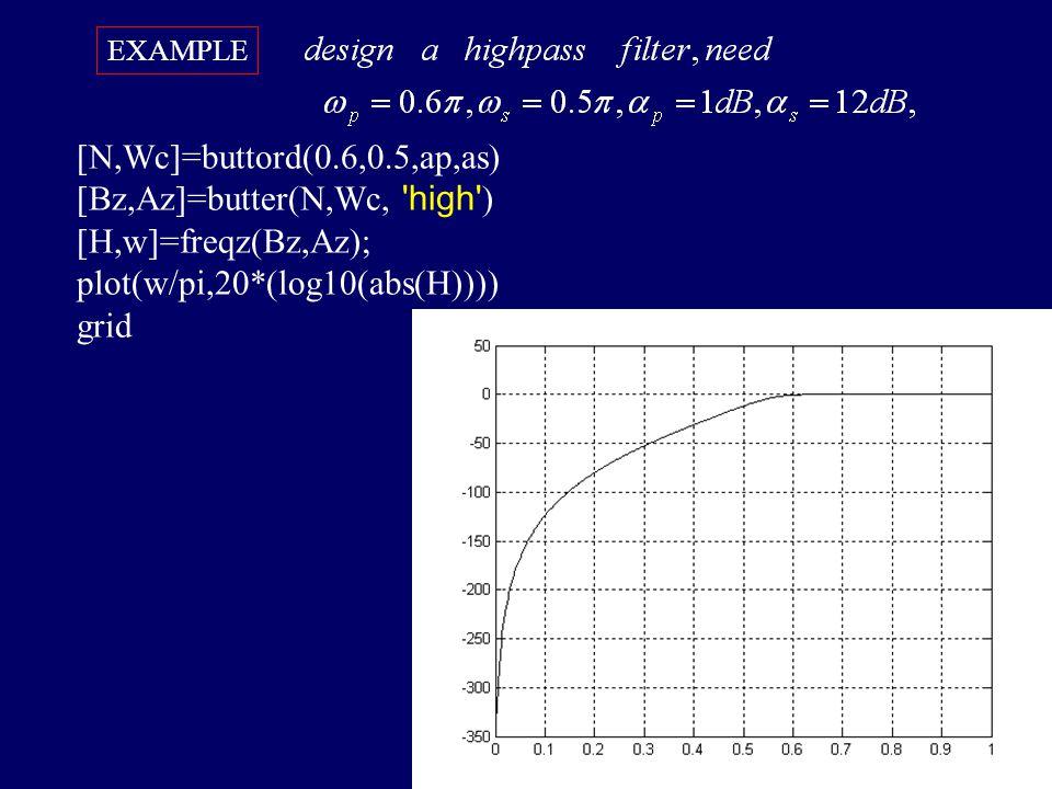 [Bz,Az]=butter(N,Wc, high ) [H,w]=freqz(Bz,Az);
